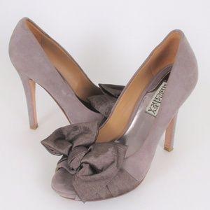 Badgley Mischka 5.5 Sued Peep Toe High Heels GUC